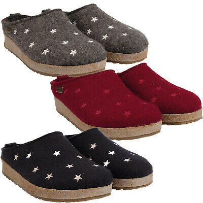 Haflinger Stars Women's House Slippers Wool Clogs Grizzly • 67£