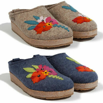 Haflinger Grizzly Garden Women's Slippers Clogs Wool Blue Jeans Turf • 66£