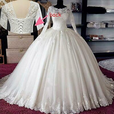 $ CDN88.61 • Buy Princess Wedding Dresses Beaded Lace Applique Ball Gowns Sequins Lace Up Back