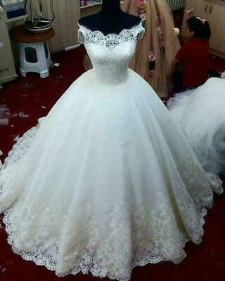 $ CDN0.01 • Buy Off Shoulder Wedding Dresses A-Line Sleeveless Lace Appliques Bridal Ball Gowns