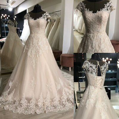 $ CDN88.61 • Buy Beaded Lace Appliques A-line Wedding Dresses Cap Sleeves Bridal Gowns Custom New