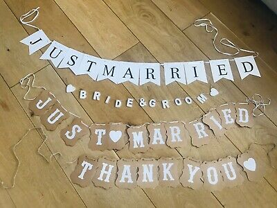 Just Married Wedding Banners, Bride And Groom & Thank You Banner. • 0.99£
