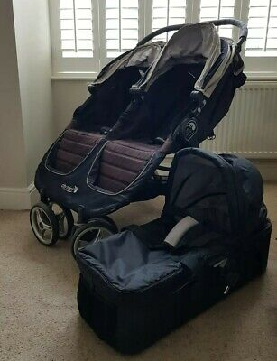 Baby Jogger City Mini Double Buggy Pushchair With Raincover And Bassinet • 100£