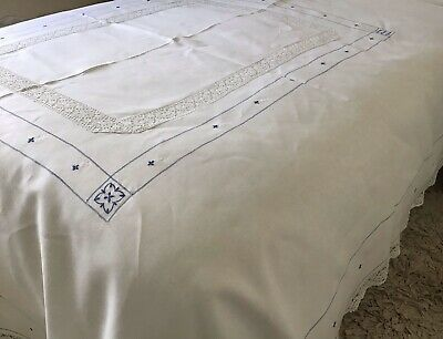 Stunning Vintage Quality Linen Bedcover~blue On White Embroidery/bobbin Lace • 55£