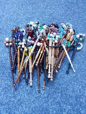 Joblot Bundle Of Approx 60 Lacemaking Bobbins - Spangled • 6£