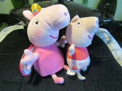 2 X Pre-owned Small Peppa Pigs - Fairy & Ballerina Soft Plush Toy - Piggy Sounds • 1.50£