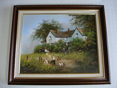 Oil Painting On Canvas - Landscape With Children In A Rural Setting - Les Parson • 150£