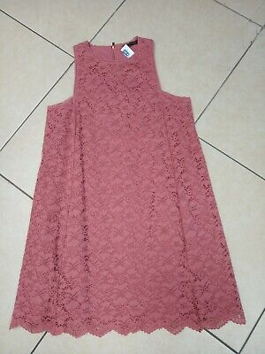 Dusty Pink Lace Look Sleeveless Lined Dress Size XL By MANGO Suit (CHARITY SALE) • 5£