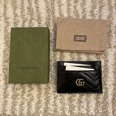 AU290.61 • Buy Gucci GG Marmont Card Case Leather Black/Gold New