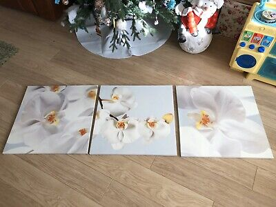 White Orchid Canvas Mounted Large Wall Art Picture Print  Set Of 3 • 13.99£