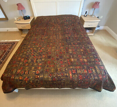Mirror Work Bedspread Indian Hand Embroidered Blanket King • 95£