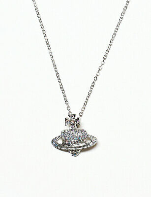 £4.99 • Buy Crystal Saturn Heart Orb Necklace Crystal Planet Chain Gold Silver Colour