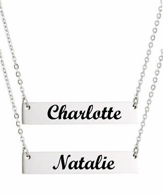 $ CDN25.25 • Buy Personalized Silver Laser Engraved Name Plate Bar Chain Necklace Pendant #1006-2