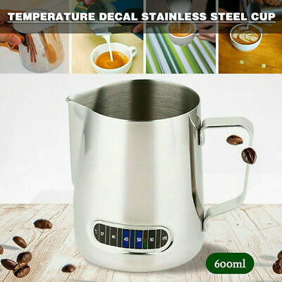 $11.69 • Buy 600ML Milk Frothing Steam Pitcher Stainless Steel Art Coffee Thermometer US