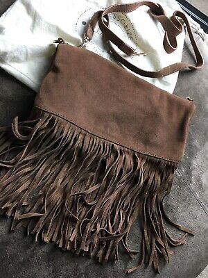 Accessorize Tan Leather Tassle Bag With Strap Used Once • 10£