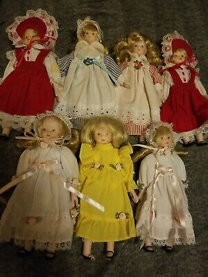 $ CDN56.80 • Buy Vintage Porcelain Doll 8 Inch Lot Of 7 Dolls Small Girl Dresses Lace Bows