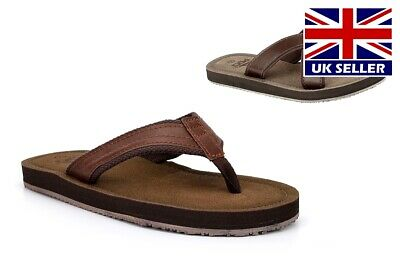 Mens Summer Sandals Faux Leather Crossover Mules Toe Post Flip Flops Brown • 13.96£