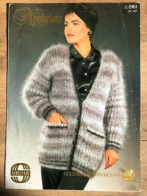 Sirdar 8161 Knitting Pattern Ladies Mohair Long V-neck Jacket With Pockets • 1.50£