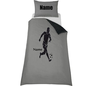 FOOTBALL PLAYER SILHOUETTE *PERSONALISED* GREY Duvet Cover/Bedding Set  • 33.99£