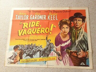 Ride Vaquero 1953 Uk Quad ( 40 X 30 ) Robert Taylor, Ava Gardner. • 60£
