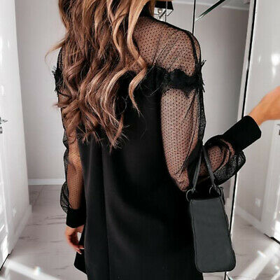 Women Dress Summer Dresses Ladies Elegant Polka Dot Mesh Sleeve Patchwork Dress • 15.23£