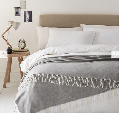 John Lewis Croft Collection 100% Pure Cashmere Throw Blanket Grey NEW £250 NOTAG • 179.99£