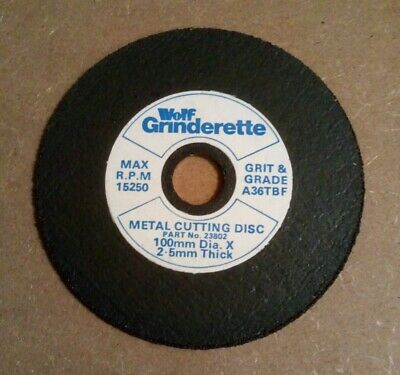 Wolf Grinderette High Quality 100mm X 16mm X 2.5mm Metal Cutting Discs • 2£