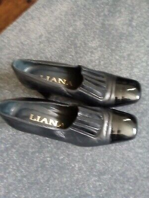 Liana Pewter & Black Leather Shoes Size 36 UK 3 Good Condition • 1£