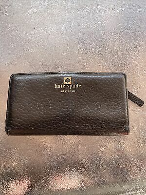 $ CDN12.61 • Buy Kate Spade Black Pebble Grain Leather Snap Wallet Clutch Fabric Lining