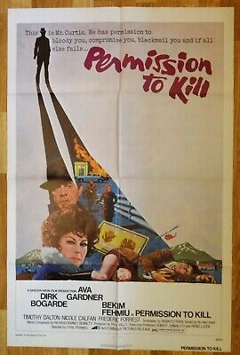 Permission To Kill  Aka  The Executioner  Ava Gardner 27x41  -1975 Movie Poster • 9.95£