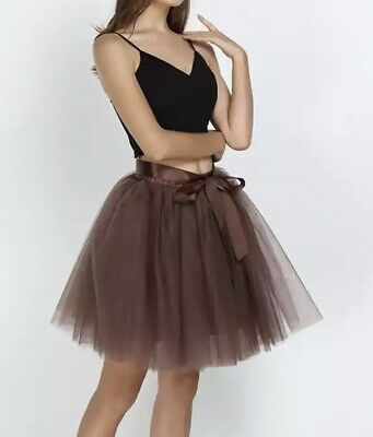 Women's Brown Coffee 7-Layer Mesh Netted Tutu Style Skirt + Belt One Size • 15£