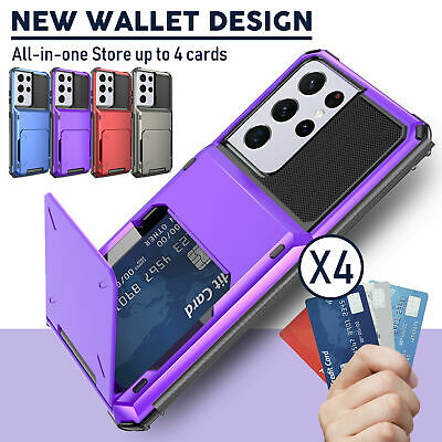 AU13.99 • Buy For Samsung S21 S20 FE Note20 Ultra S10 Wallet Card Slot Holder Armor Case Cover