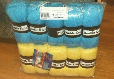 Marriner Double Knit 100g Crochet Yarn 100% Acrylic 5 Pack Mustard & 5 Turquoise • 15.99£