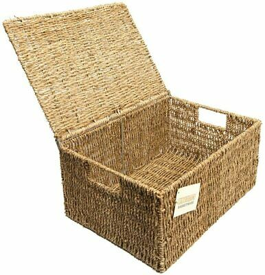 Woodluv Seagrass Storage Wicker Basket With Lid, 15cm H X 32cm W X 24cm D • 14.97£