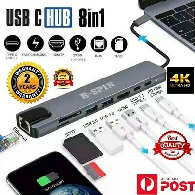 AU37.99 • Buy 8 In 1 USB-C HUB Type-C USB Multi 3.0 4K HDMI RJ45 Ethernet Micro SD TF OTG