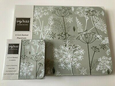 £18.99 • Buy Set Of 6 Floral Wild Flowers Placemats & Coasters Dill Dining Dinner Table Mats