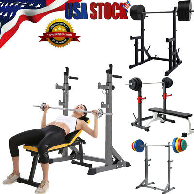 $ CDN153.50 • Buy Adjustable Squat Rack Bench Press Weight Lifting Barbell Stand NEW Gym Fitness