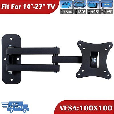 Full Motion Swivel TV Wall Mount Bracket For 14-27 Inch Small LCD LED Monitor • 8.79£