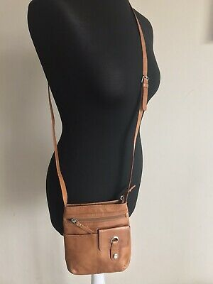 """Small Tan Real Leather Crossbody Bag Next 7"""" X 8"""" Excellent Condition Zip • 8.99£"""
