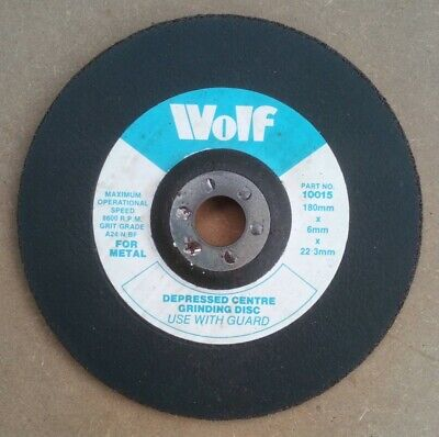 Wolf Depressed Centre Metal Grinding Disc Angle Grinder Disc 180mm X 6mm X 22mm • 3.95£