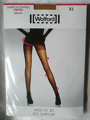 Wolford Miss W 30 Leg Support Tights Shape & Control Strong XL Caramel Red Top • 19.95£