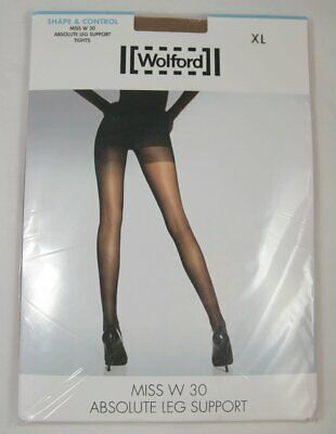 Wolford Miss W 30 Absolute Leg Support Tights Shape & Control XL Caramel 11218 • 19.95£