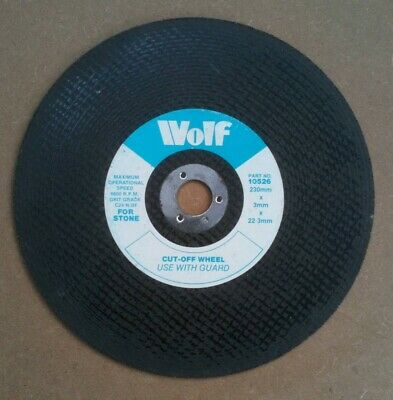 Wolf Stone Cutting Disc Brick Concrete Flat Disc Cut Off 230mm X 3mm X 22mm • 4.50£