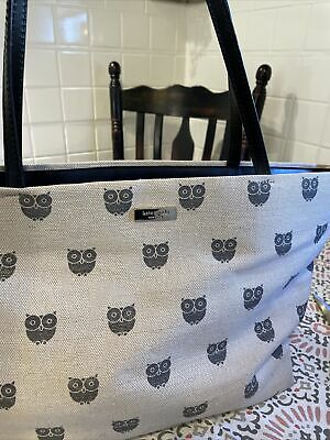 $ CDN25.36 • Buy Kate Spade Large Tote With Owls Fabric And Leather Straps
