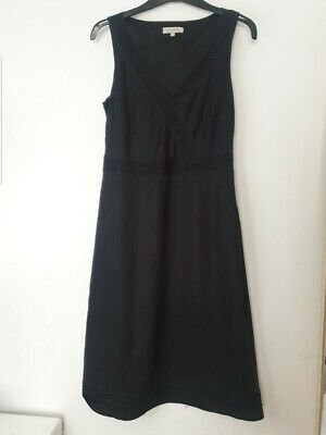 John Rocha Debenhams Designer Black Linen Beaded Dress Size 12 • 5£
