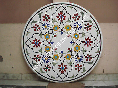 AU3150.67 • Buy 36  White Round Dining Marble Table Top Marquetry Inlay Living Room Decor E370