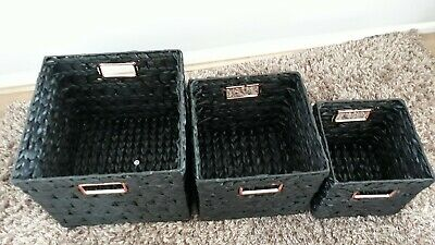 Set Of 3 Large Storage Baskets Soft Seagrass/wicker Black Copper NEW  • 12£