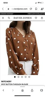 AU21.50 • Buy Witchery Spot Button Through Blouse Size 10 New With Tags