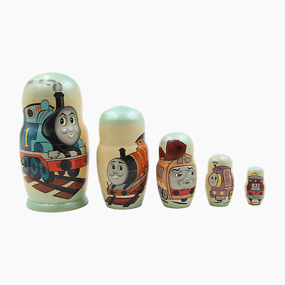 Thomas The Tank Engine Vintage Hand Painted Wooden Russian Nesting Dolls  • 29.95£
