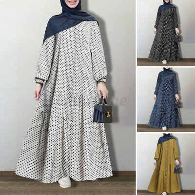ZANZEA Women Muslim Islamic Long Puff Sleeve Polka Dot Tiered Ruffles Maxi Dress • 12.86£